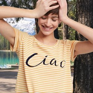 """Tribal, yellow, striped """"Ciao"""", front tie tee."""
